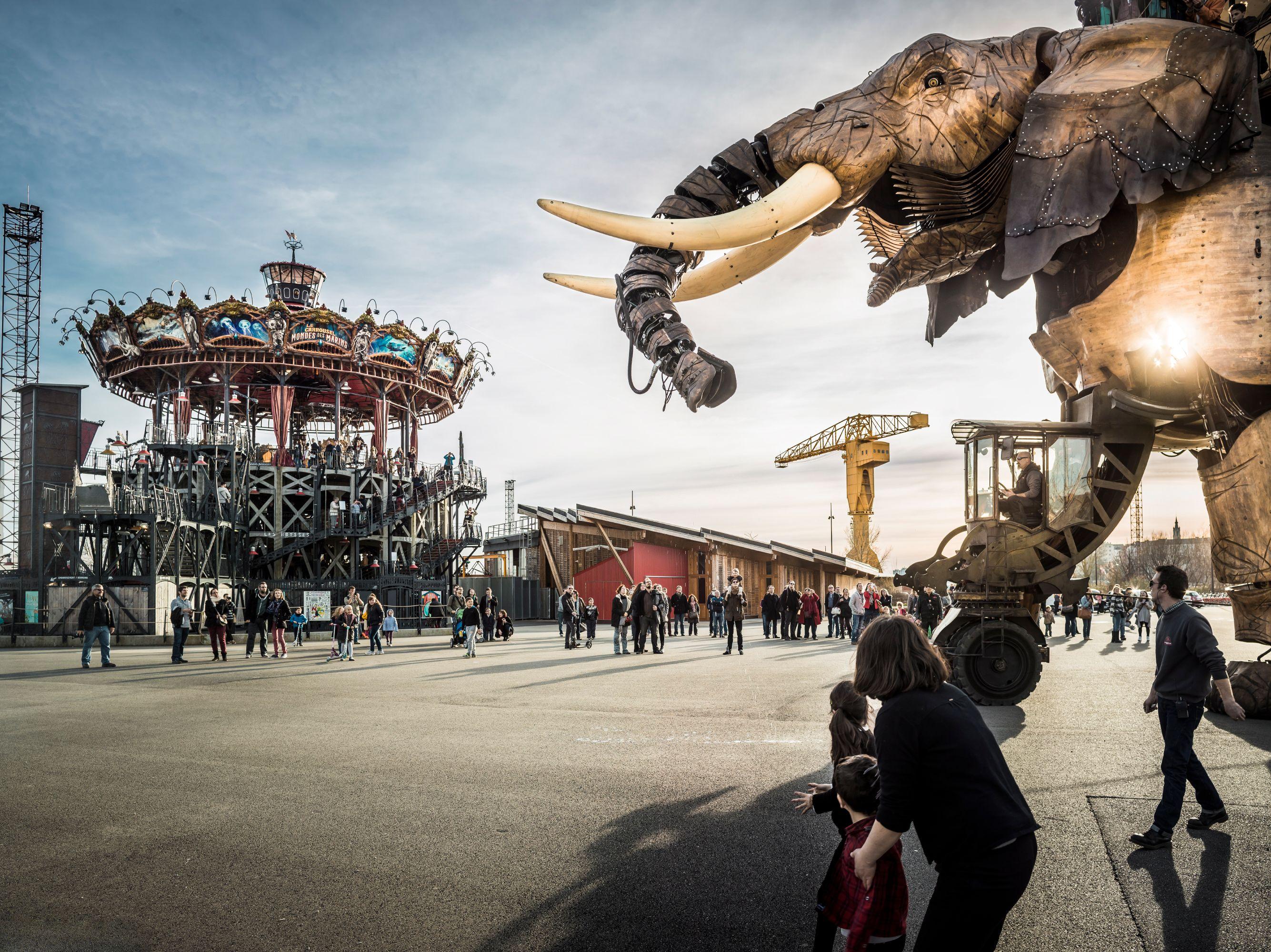 Elephant et carrousel des machines de l'île de Nantes, en Loire-Atlantique