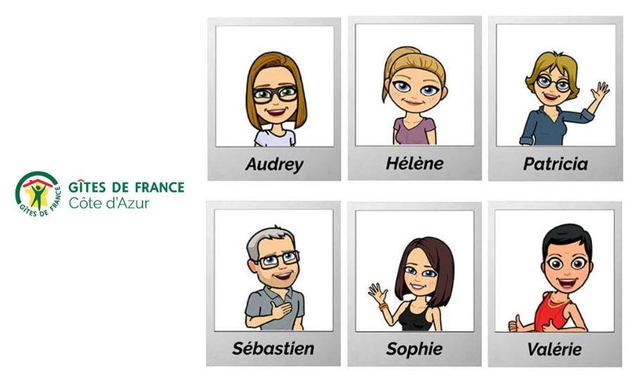 équipe Gîtes de France côte d'azur