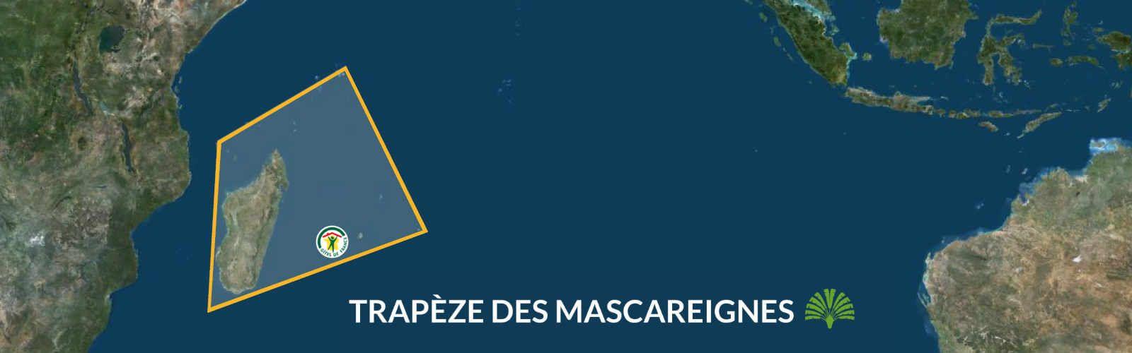 Carte représentant le trapèze des Mascareignes