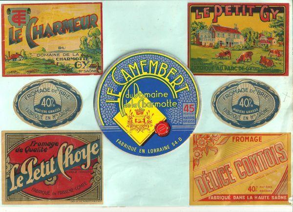 Les étiquettes de fromage fabriqués à La Charmotte