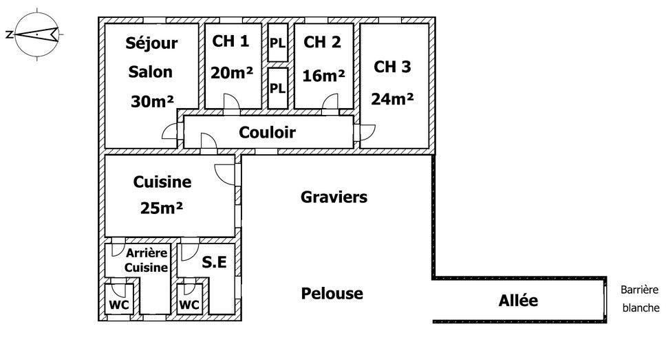 Plan de la maison, sans vis à vis