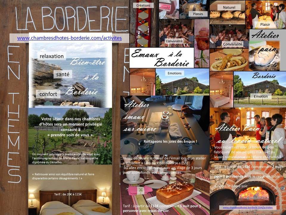 des activités sur places :https://chambresdhotes-borderie.com/ateliers-stages-sejours-activites-borderie/