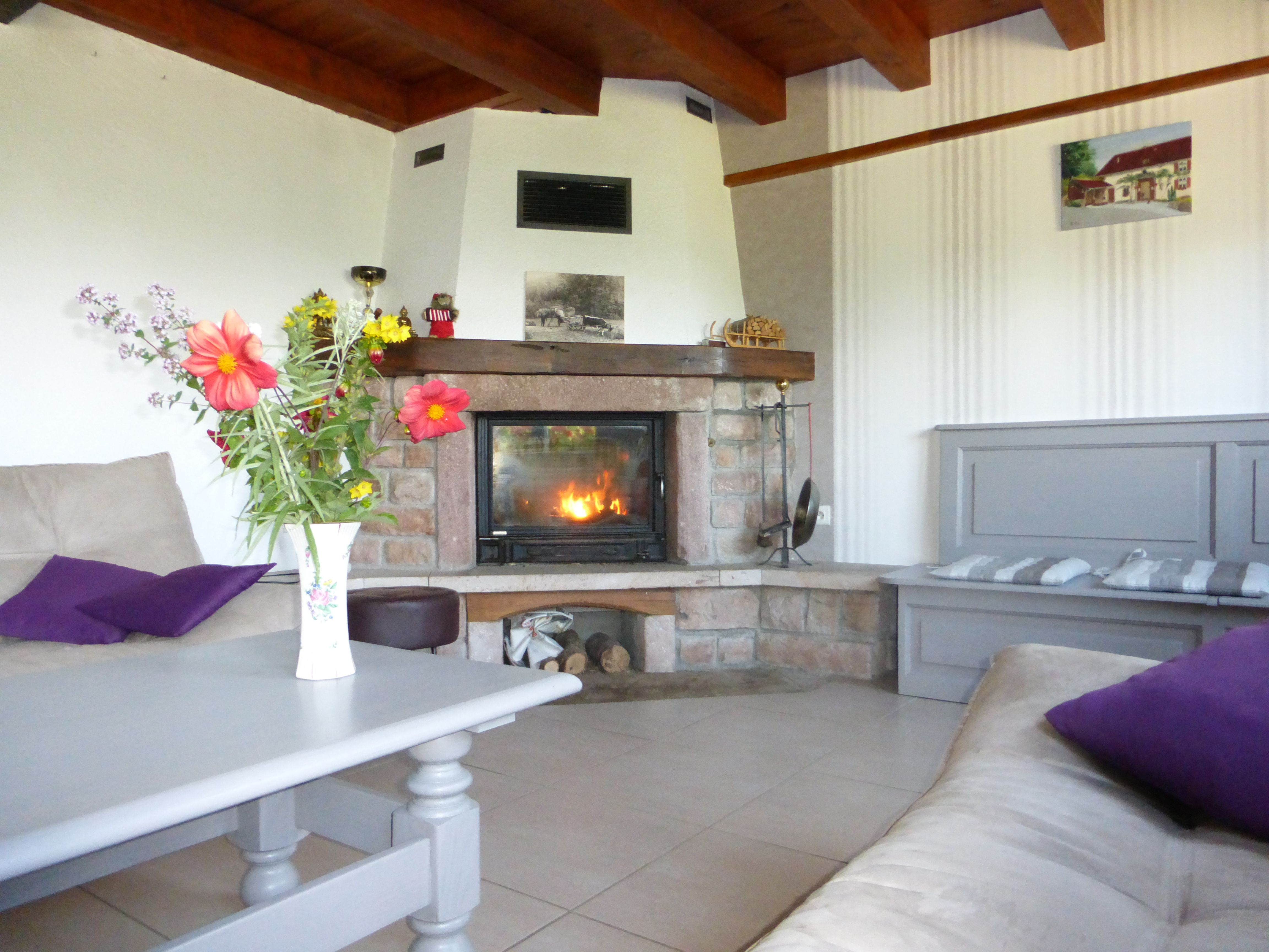 Salon avec cheminée