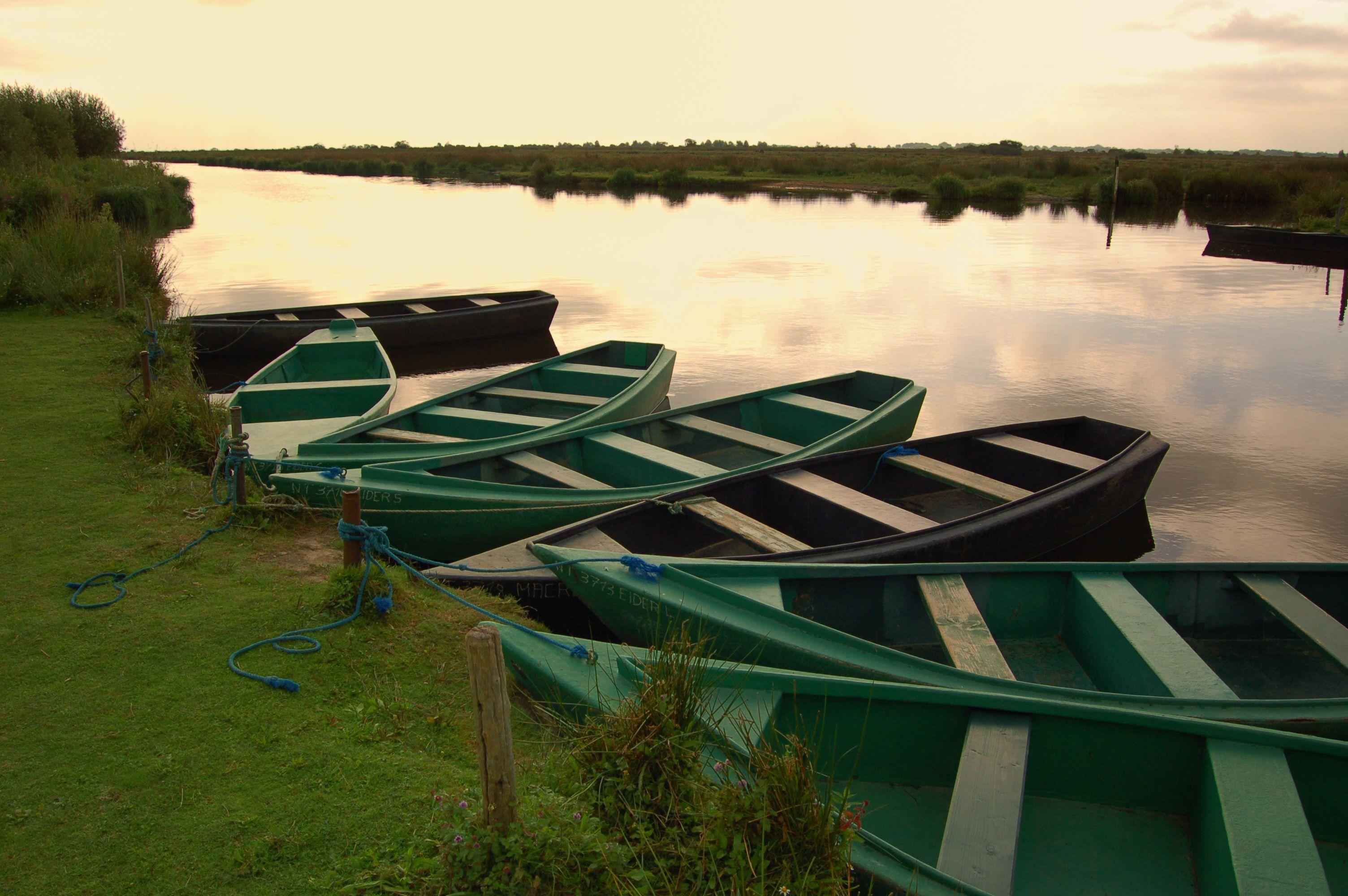 Barques dans le parc de Brière, en Loire-Atlantique