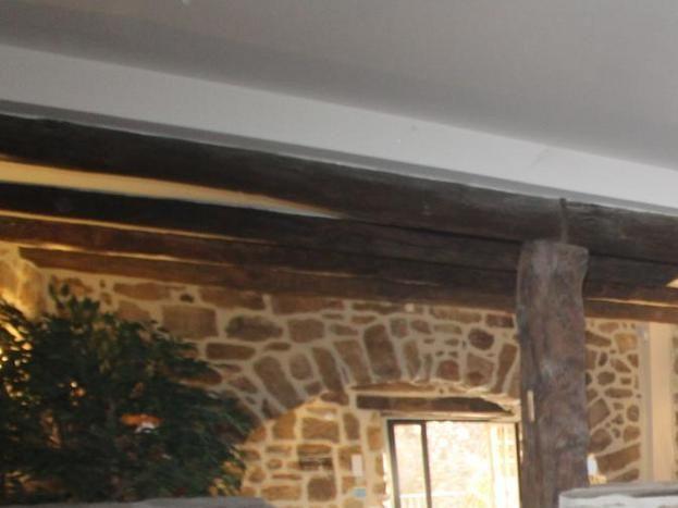 Salon principal : Canapé panoramique, TV écran plat, Bluray, Poêle à bois.