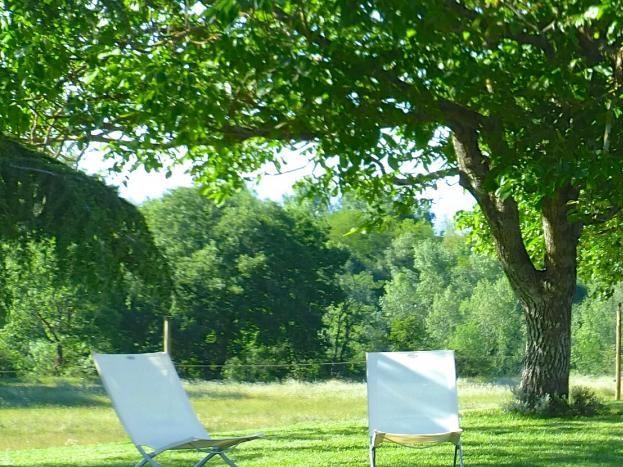 salons de jardin et transats sous les arbres.