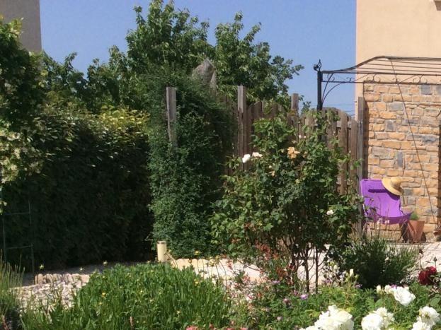 jardin et au fond pergola, sans sa toile