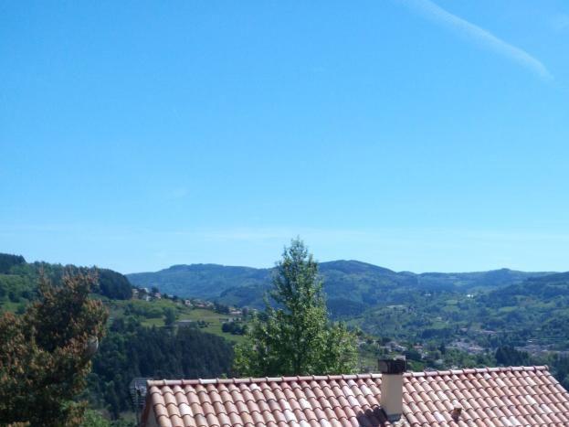 La maison vue d'en haut avec le toit de l'abri bois