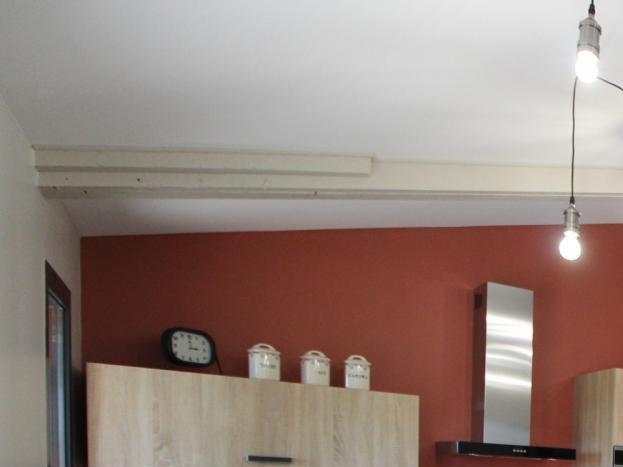 Cuisine et coin salon..canapé cuir et télé murale..