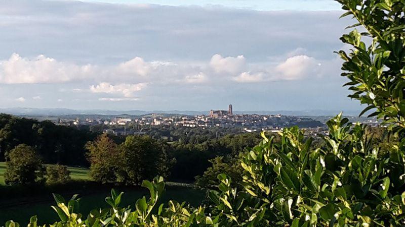 la vue sur Rodez et sa cathédrale au soleil couchant