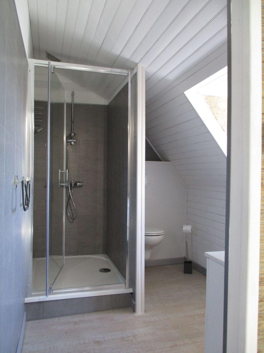 La salle d'eau avec vue sur la vallée est équipée d'une douche 90 x 120 cm et de son WC indépendant