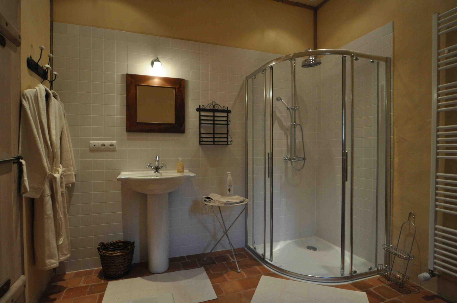 Salle de bain avec douche et avec baignoire