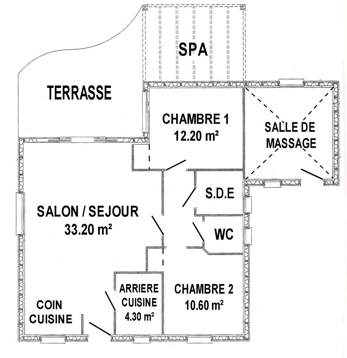 salle massage: chambre attenante