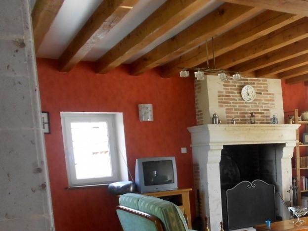salon avec cheminée ouverte et télévision