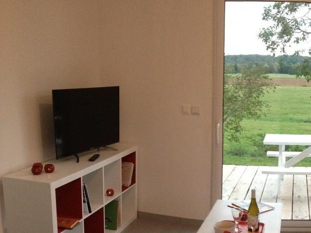 Salon et sa grande baie vitrée donnant sur une terrasse avec vue dégagée sur le val de Loire.