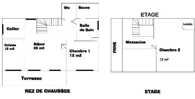 Plan de l'aménagement interne du gîte.