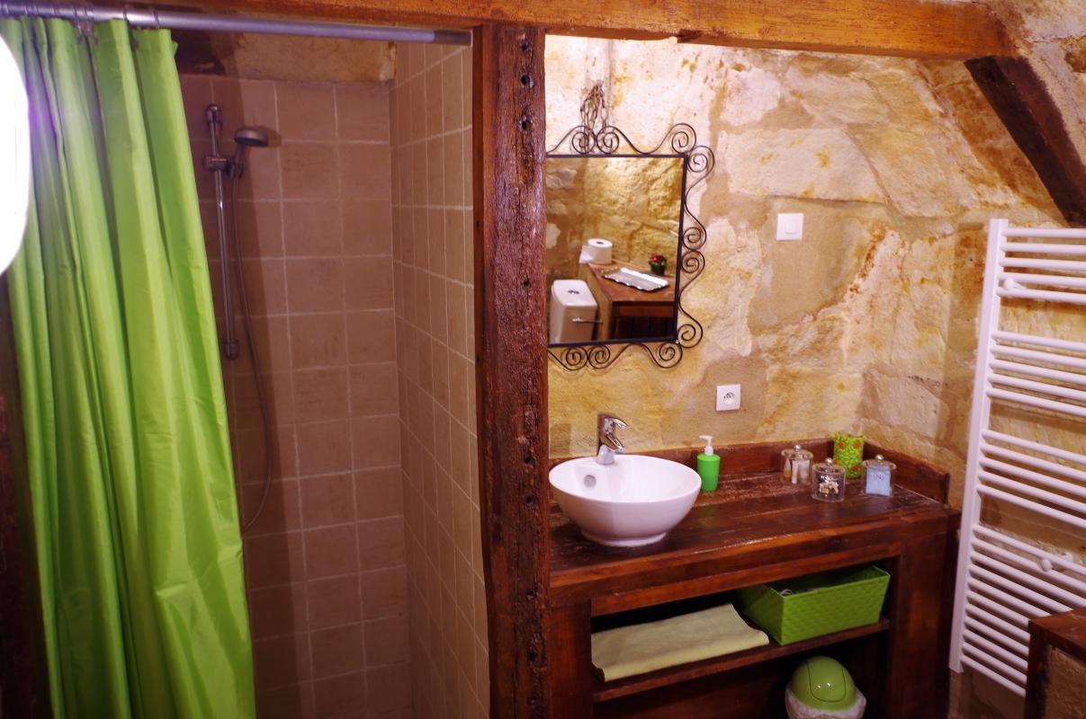 Salle d'eau privative attenante à la chambre 2 du Troglo (douche lavabo et wc)