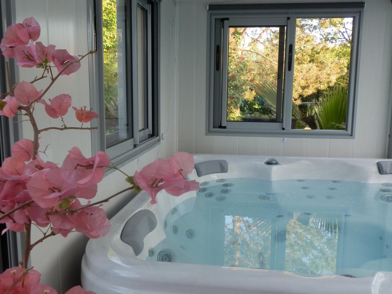 Jacuzzi pour une séance de bains bouillonnant, massant et luminothérapie en toute intimité sous un ciel étoilé