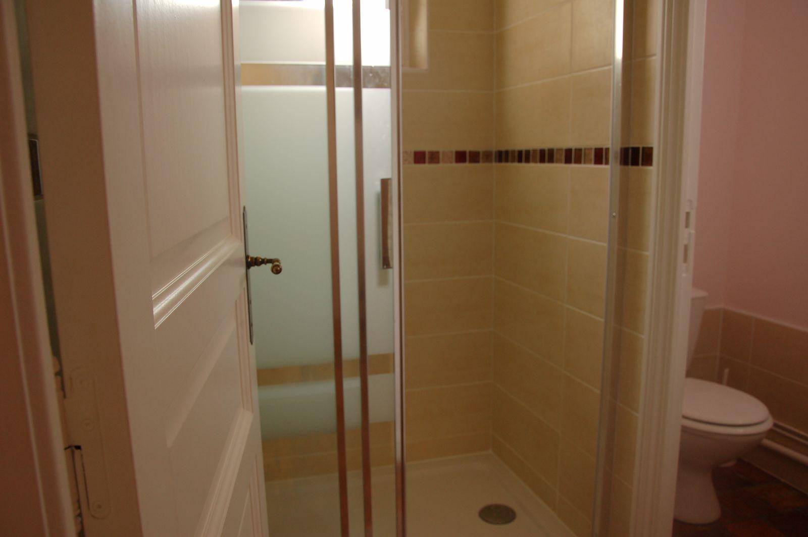 Salle-du-bas, avec douche, lavabo et toilettes. 51G465 - Le Cabanon Champenois - Ambonnay - Gîtes de France Marne