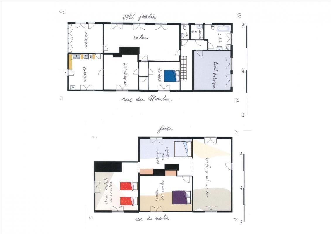 Plans du rez de chaussée et étage. 51G416 - Sous l'Orme en Argonne - Les Charmontois - Gîtes de France Marne