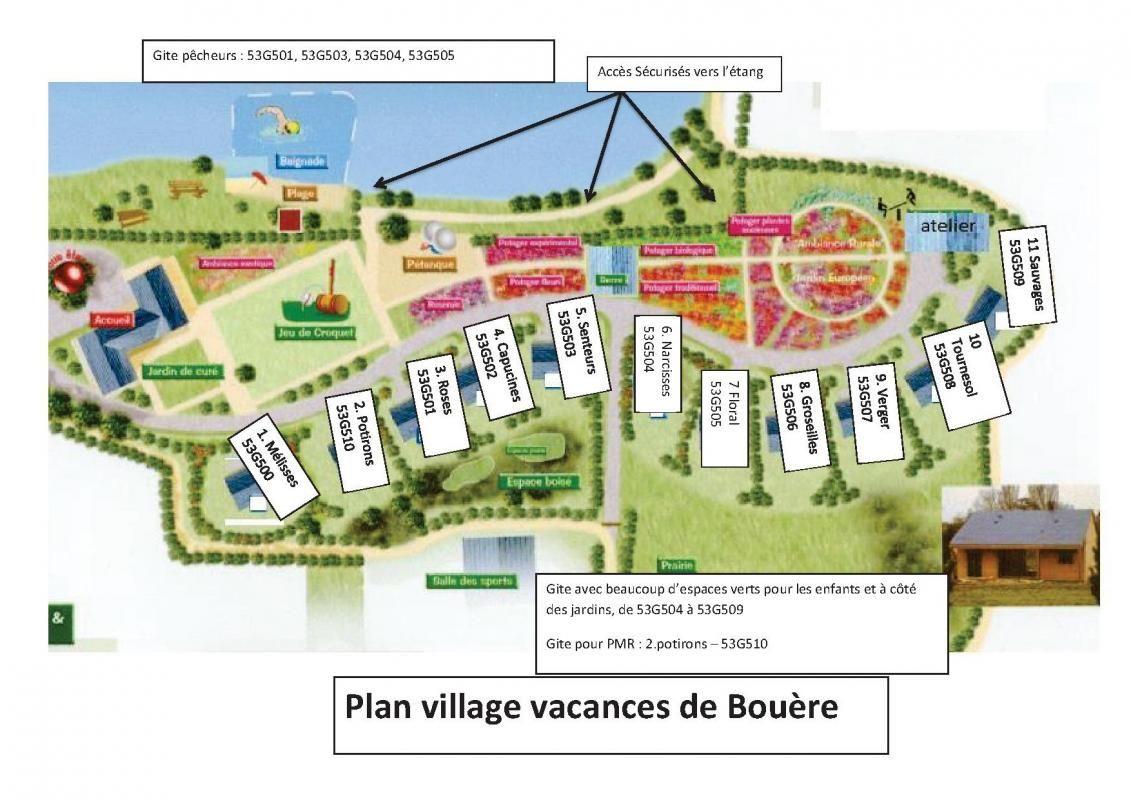 plan du Village de gîtes Nature et Jardin de Bouère