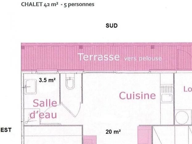 plan d'un chalet du village nature et jardin de Bouère