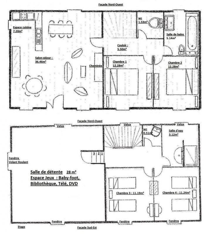 Plan d'aménagement du gîte.