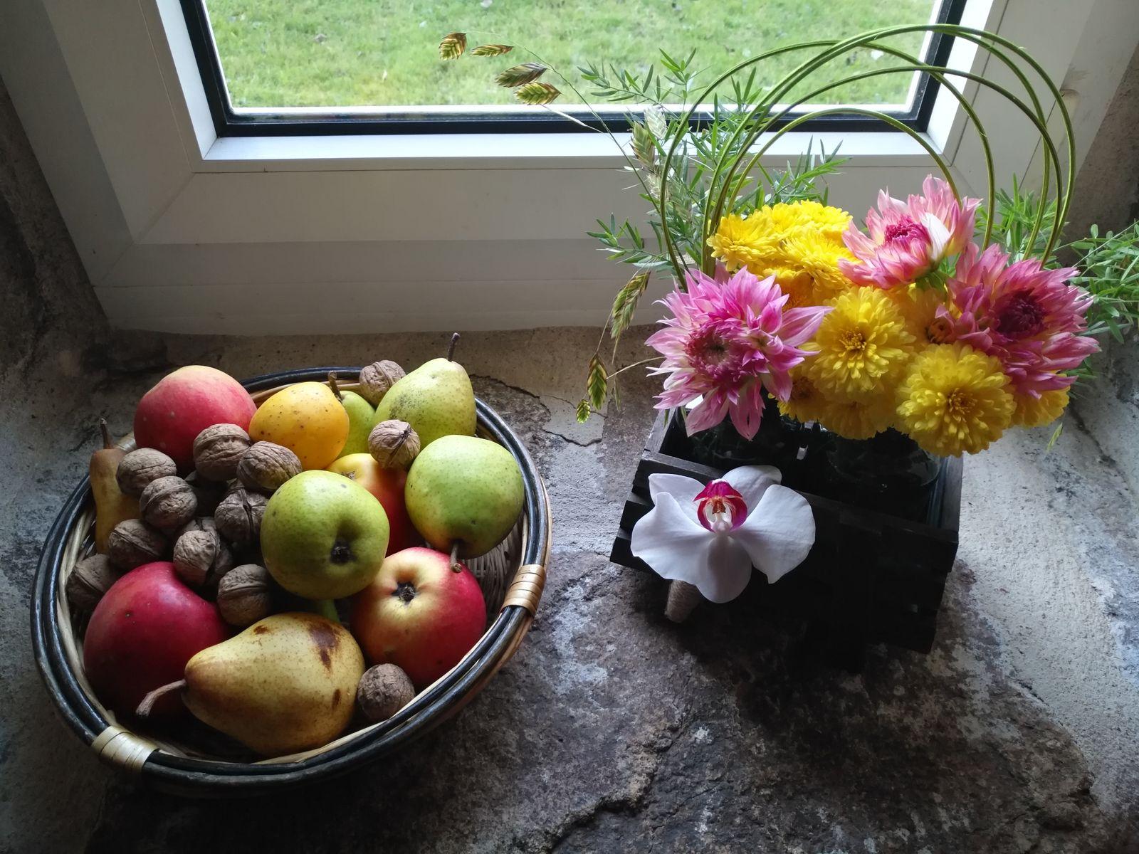 A l'automne, pommes, poires et noix de notre verger