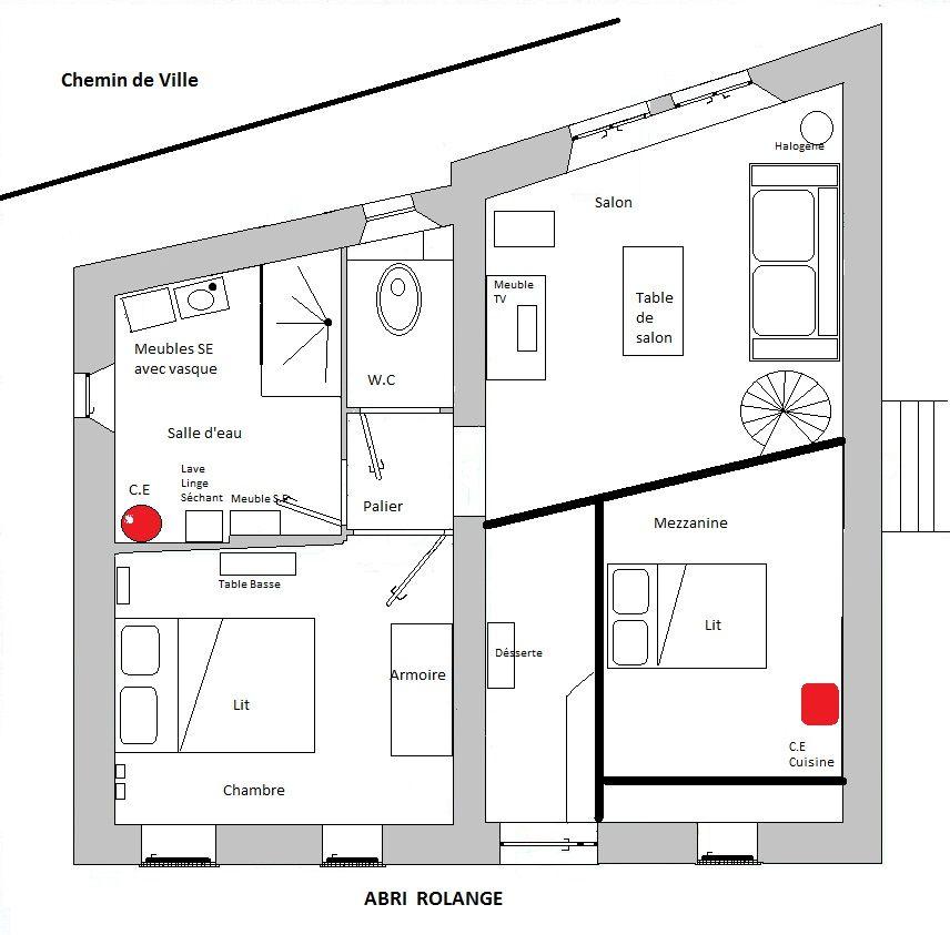 plan avec mezzanine à l'étage