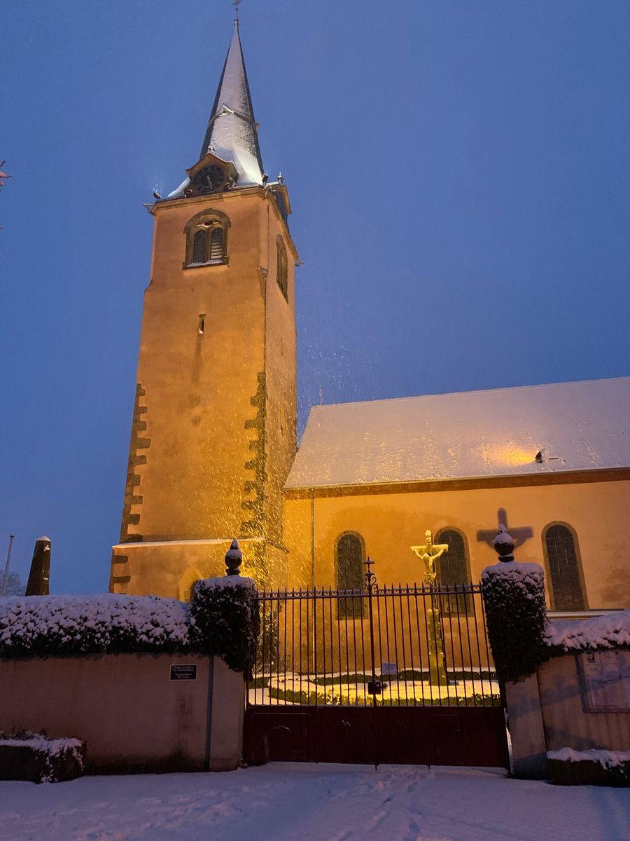 L'église d'Ohnenheim sous la neige