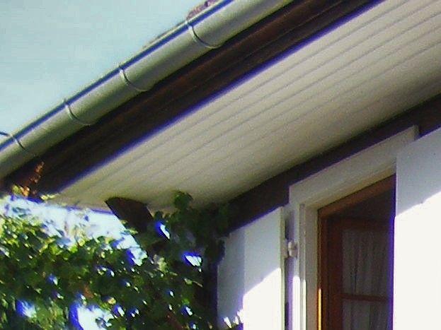 La cour en été: face au gîte, l'escalier de la maison du propriétaire