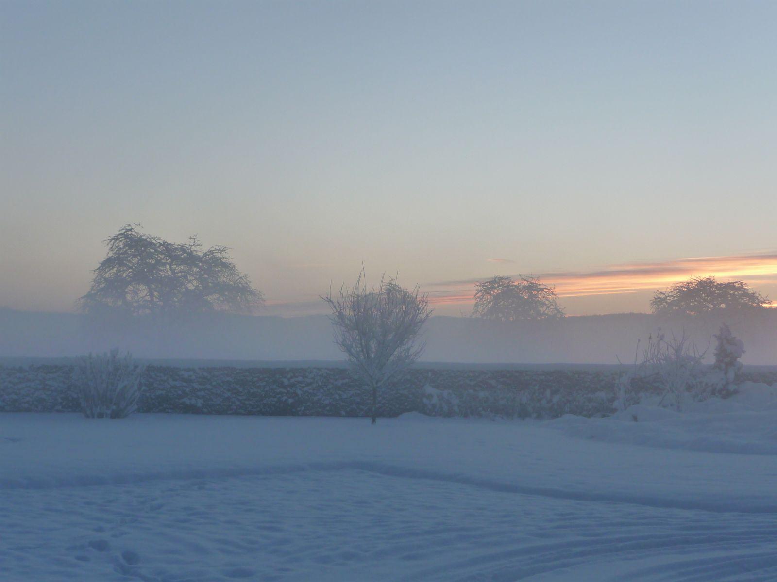 coucher soleil en hiver.