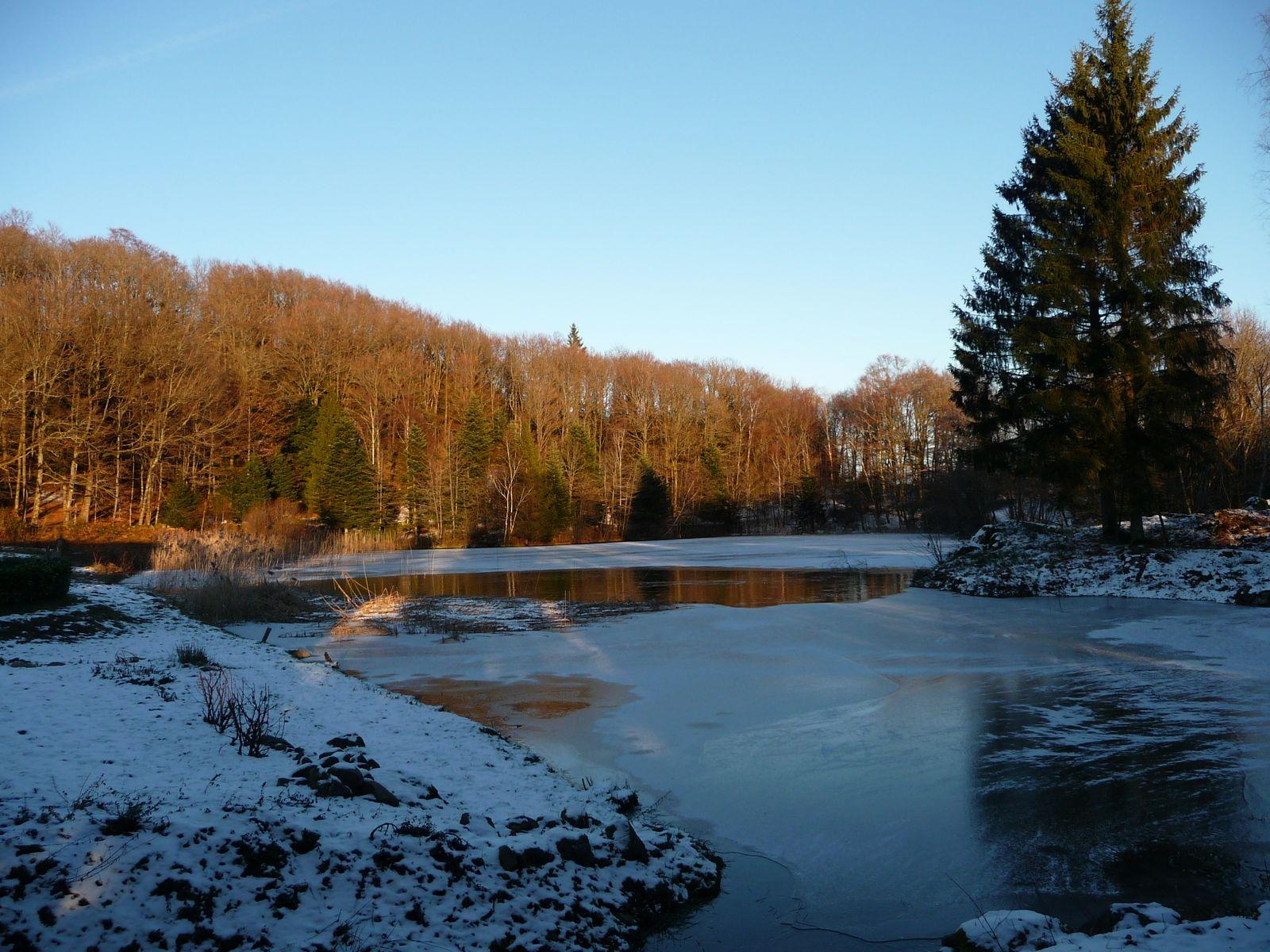 Coucher soleil sur l'étang avec un peu de neige.