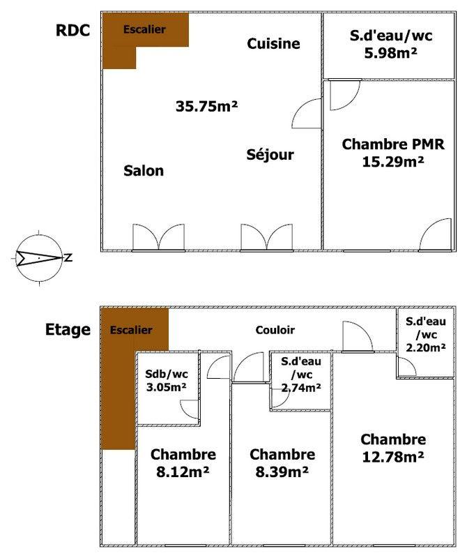 Plan du gîte avec 4 chambres et 4 salle d'eau privatives avec chacune 1 wc