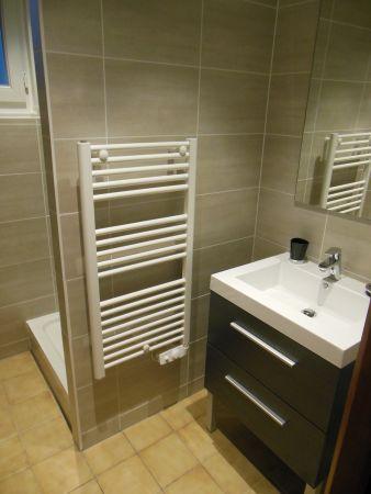 Salle d'eau du rez-de-chaussée avec douche à l'italienne et vasque